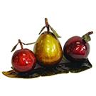 Sculpture de fruits en métal coloré