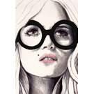 Toile laquée 48x72 po Femme au lunette