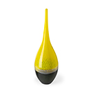 Vase décoratif en verre jaune et gris - grand