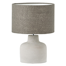 Lampe de chevet base en ciment abat-jour de lin gris