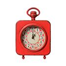 Horloge de table en métal rouge