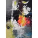 Toile laquée 48x72po Abstraction peint à la main
