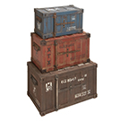 3 malettes de type containers
