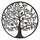 Appliqué mural en métal rond arbre avec oiseaux