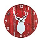 Horloge murale rouge avec cerf blanc
