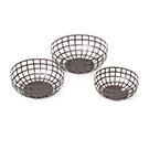 3 bols à fruits en métal noir