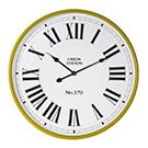Horloge murale contour métal jaune