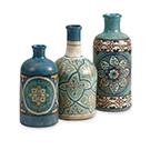 3 vases en terracotta Kabir peint à la main