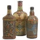 Ensemble de 3 bouteilles décoratives