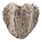 Coussin coeur de coyote en fausse fourrure