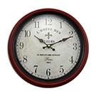 Horloge murale en métal rouge et noir 12 po