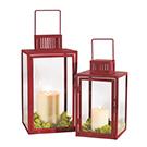 2 lanternes en métal rouge