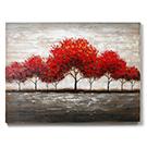 Cadre Arbres rouges peint à la main sur bois 36x48po