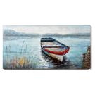 Cadre Chaloupe sur le lac peint à la main sur bois 60x30po