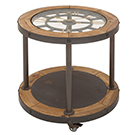 Table d'appoint sur roues avec horloge intégrée