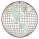 Appliqué mural Mappe monde en métal 22po