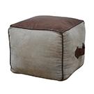 Pouf cuir brun & canevas 16x16x14h