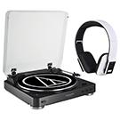 Ensemble audio Bluetooth Table tournante et casque d'écoute