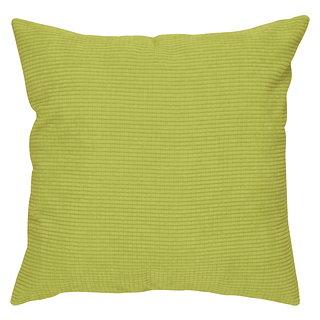 Coussin carré vert lime en velour côtelé motif carré