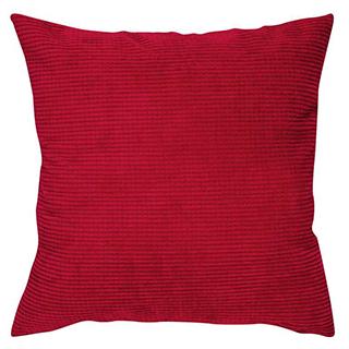 Coussin carré en velours côtelé rouge