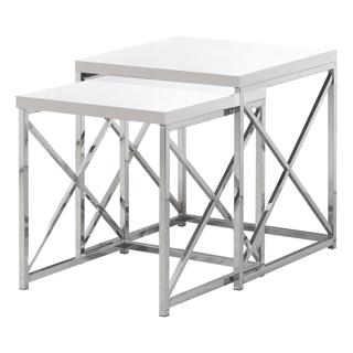2 tables gigognes - Blanc laqué et chrome