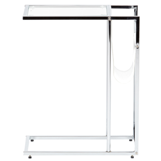 Table d'appoint ou de bout - Verre, chrome et Blanc