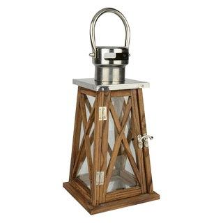 Lanterne décorative en bois et métal hauteur 14.5po