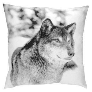 Coussin carré avec imprimé Loup