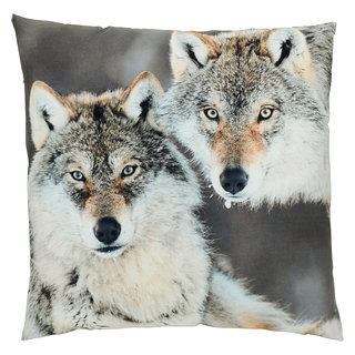 Coussin carré avec imprimé Loups