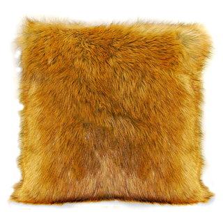 Coussin carré imitation fourrure de coyote brun