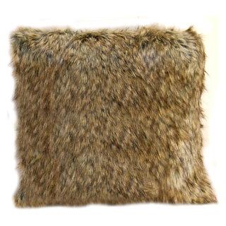 Coussin carré fausse fourrure castor poil long