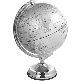 Globe terrestre lumineux argent