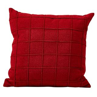 Coussin carré en tissu feutré rouge