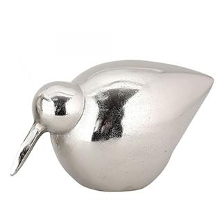 Oiseau décoratif Dodo I en aluminium fini argent poli