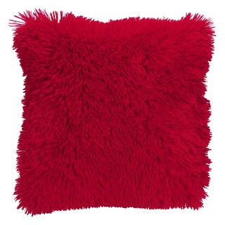 Coussin carré à poils longs rouge