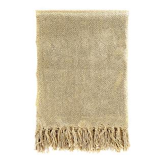 Jeté métallique doré en tricot 100% viscose
