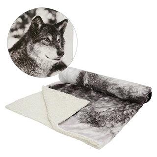 Jeté en fausse fourrure réversible motif loup