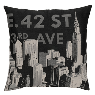 Coussin carré 42e avenue New York fond noir