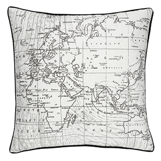 Coussin carré imprimé carte du monde