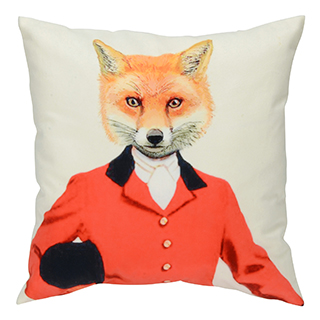 Coussin carré imprimé renard vestion orange