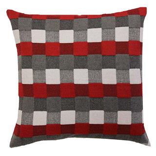 Coussin carré Stirling Gris et rouge