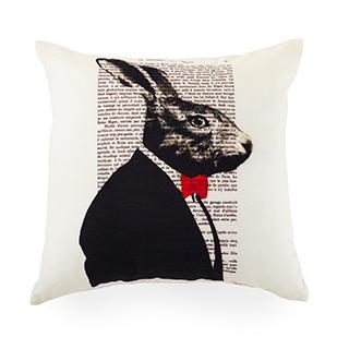 Coussin carré imprimé lapin