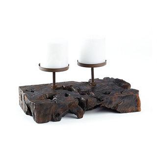 Porte bougies double en bois et métal