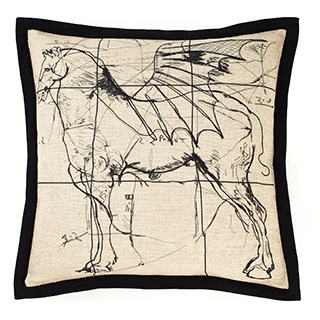 Coussin carré imprimé cheval ailé