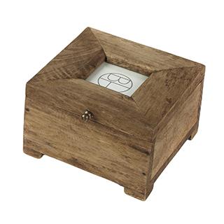 Petite boîte décorative à photo en bois de mango