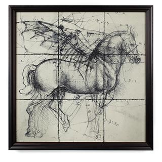 Cadre noir avec cheval ailé