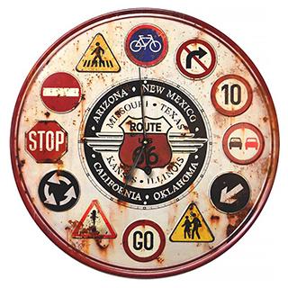 Horloge Signalisation route 66