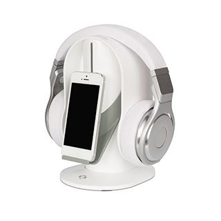Support blanc pour casque d'écoute et cellulaire