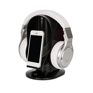 Support noir pour casque d'écoute et cellulaire