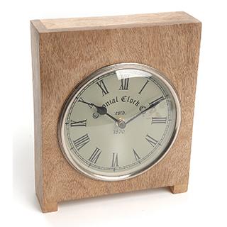 Horloge de table en bois et nickel antique
